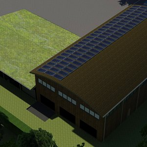 Render showing Proposed Solar Panels
